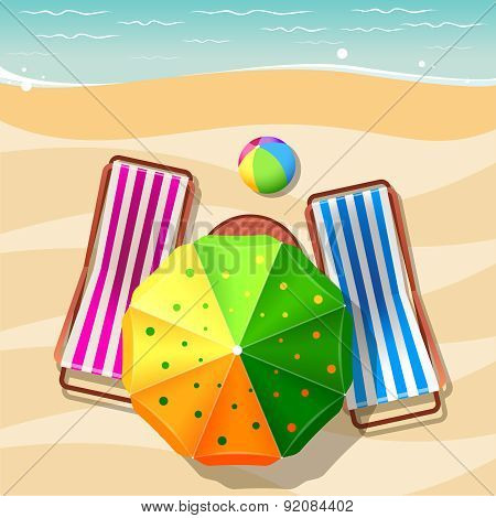 Beach chair and umbrella top view