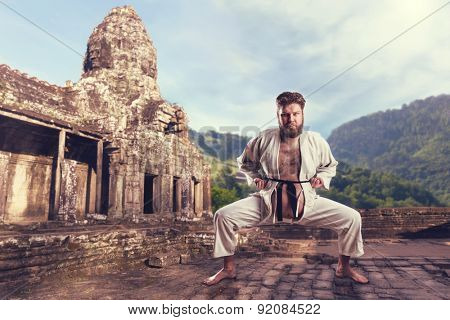Karate fighter in karate stance