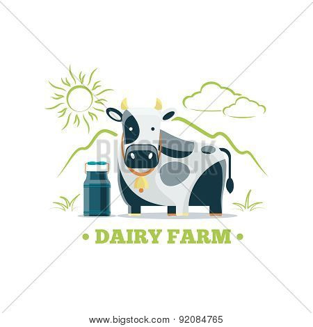 Fresh natural milk eco farm logo with cow