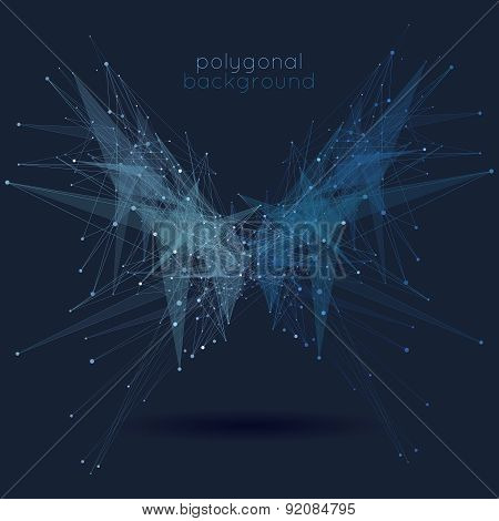Abstract low poly geometric technology vector background with connection structure
