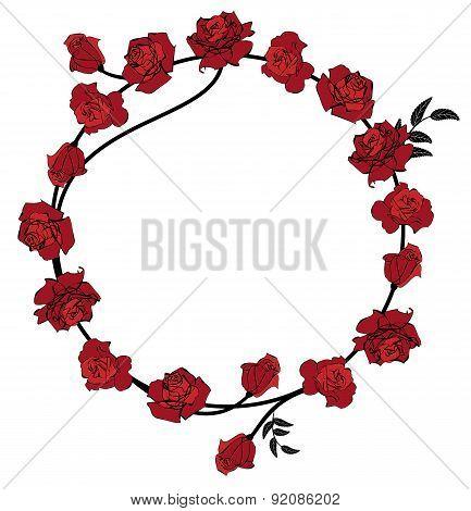 Floral Red Roses Frame