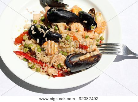 Tasty Paella Rice Dish With Mussels, Shrimp And Paprika