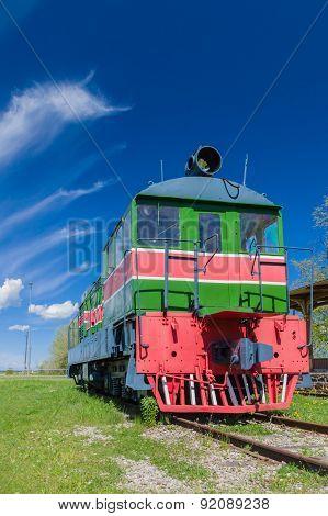 Old Style Retro Locomotive Train Under Blue Sky