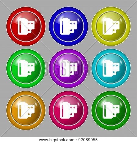 35 Mm Negative Films Icon Sign. Symbol On Nine Round Colourful Buttons. Vector