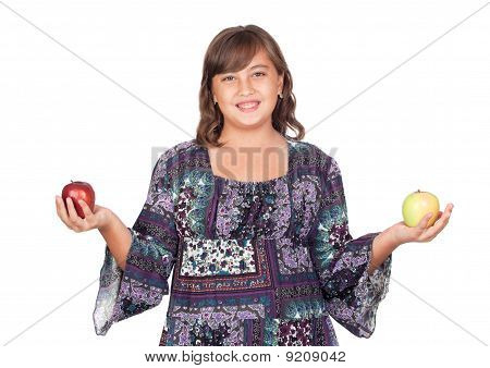 Adorable Preteen Girl With Two Differents Apples