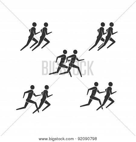running or jogging men icons