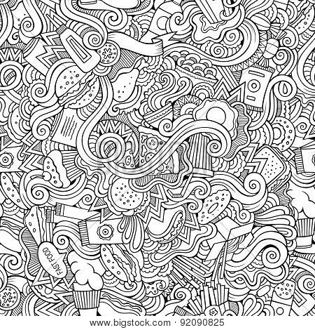 Seamless doodles abstract fast food pattern