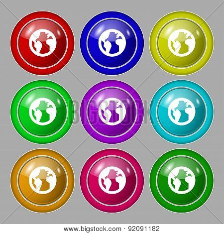Globe, World Map Geography Icon Sign. Symbol On Nine Round Colourful Buttons. Vector