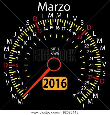 2016 year calendar speedometer car in Spanish, March. Vector ill