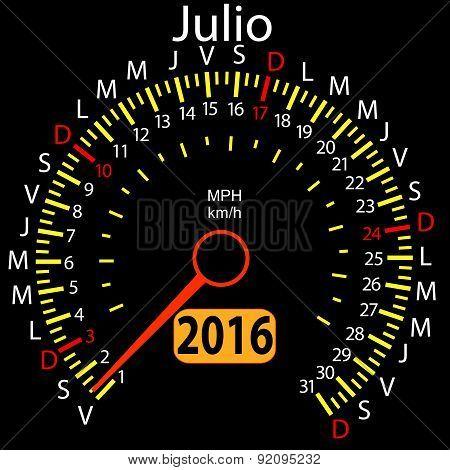 2016 year calendar speedometer car in Spanish, July. Vector illu