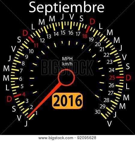 2016 year calendar speedometer car in Spanish, September. Vector