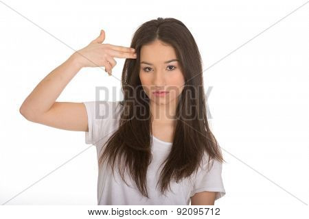 Despair teenager woman showing suicide sign.