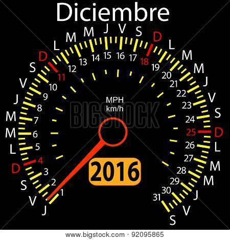 2016 year calendar speedometer car in Spanish, December. Vector