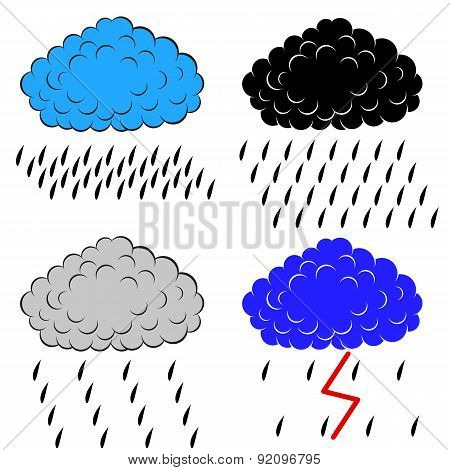 Clouds with precipitation, vector illustration