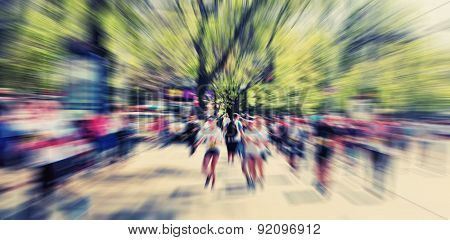 Abstract Background. International Marathon Runner.  Blur Effect Defocusing Filter Applied, With Vin