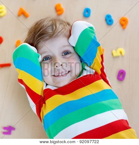 Kid Boy With Colorful Numbers, Indoor