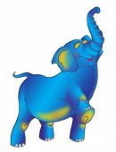 picture of stomp  - Triumphantly striding proudly blue elephant with a raised trunk - JPG