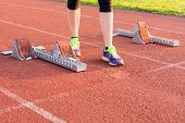 pic of sprinters  - Closeup of a starting block - JPG