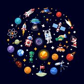 picture of spaceman  - Circle vector flat design composition of space icons and infographics elements - JPG