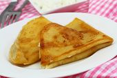 stock photo of crepes  - Crepes with cottage cheese on white plate  - JPG
