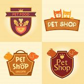 picture of bag-of-dog-food  - Set of vector logos for pet shop - JPG