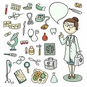 picture of cartoon character  - Cute cartoon set of doctor and laboratory equipments - JPG