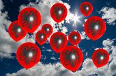 picture of albania  - many ballons in colors of albania flag flying on sky