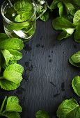 image of mint leaf  - Mint Tea And Mint Leaves Over Black Background With Copy Space - JPG