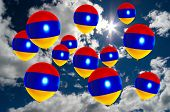 Постер, плакат: Many Balloons With Armenia Flag On Sky