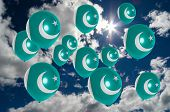 picture of pakistani flag  - many ballons in colors of pakistan flag flying on sky - JPG