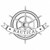 picture of rudder  - nautical label - JPG