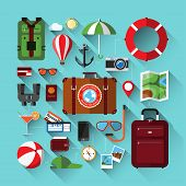 pic of passenger ship  - Flat design icons set of planning a summer vacation - JPG