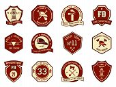 stock photo of accident emergency  - Fire department logo and badges set - JPG