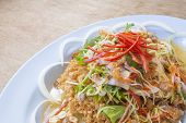 foto of catfish  - Spicy Crispy Catfish in white plate wood table - JPG