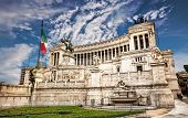stock photo of emanuele  - Monumento Nazionale a Vittorio Emanuele 2  against blue sky - JPG