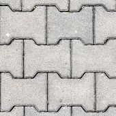 image of paving  - Gray H Shaped Paving Slabs - JPG