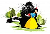 image of witch  - Illustration of fairy tale Snow White with evil witch - JPG