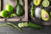 stock photo of lime  - Sliced avocado - JPG