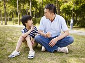 pic of conversation  - asian father and elementary - JPG