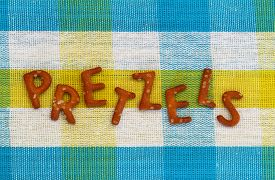 pic of pretzels  - Word pretzels written with pretzel - JPG