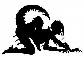 foto of scorpion  - Illustration fantasy woman in extreme scorpion - JPG