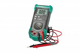 foto of ohm  - Digital multimeter with probes isolated on white - JPG