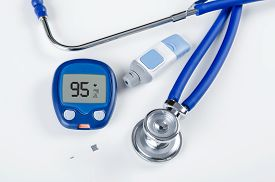 picture of hemoglobin  - Diabetic test kit and stethoscope on white background - JPG