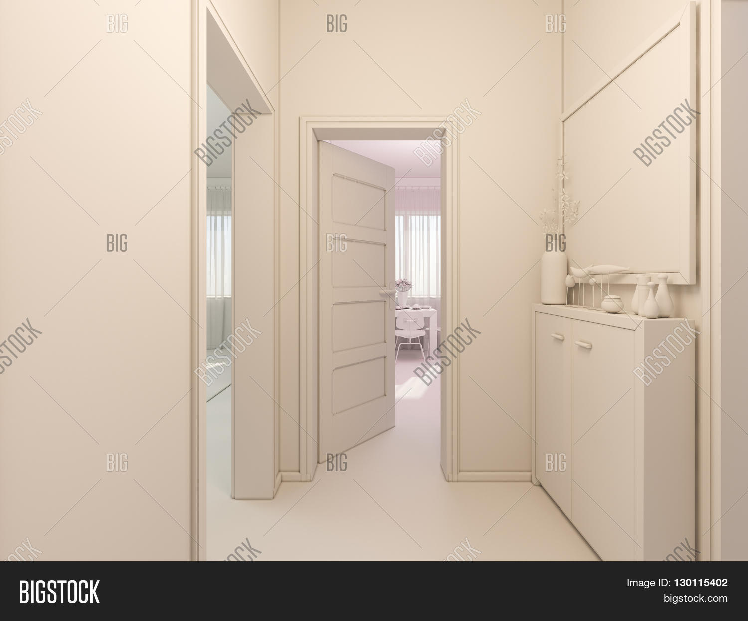3D render of interior design entrance hall in a studio apartment ...