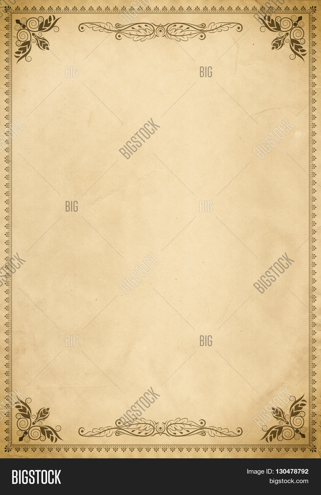 Old paper background with vintage decorative border and ...