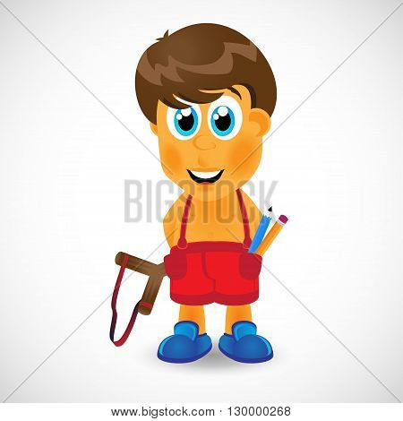 Naughty boy with slingshot. Use this vector illustration for design your website or publications.