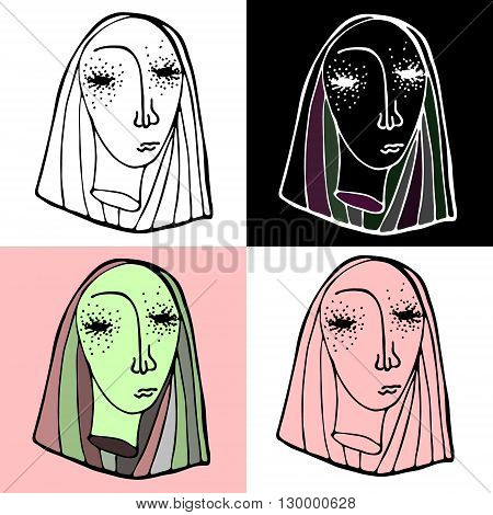 4 variants of severed head of blonde girl. Vector hand drawn illustration