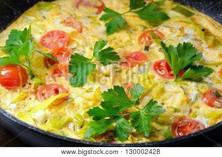 Italian Frittata In Iron Pan.