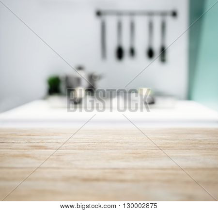 Table Top with Blurred Kitchen Counter Home Interior Background