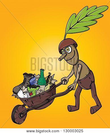 forest oak man cleaning garbage waste trash